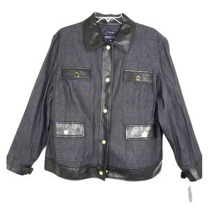 Jones New York Stretch Denim Jacket W/Leather Trim